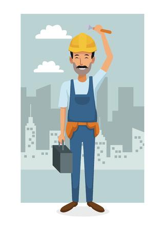 monochrome city landscape frame background with colorful full body workman vector illustration Illustration