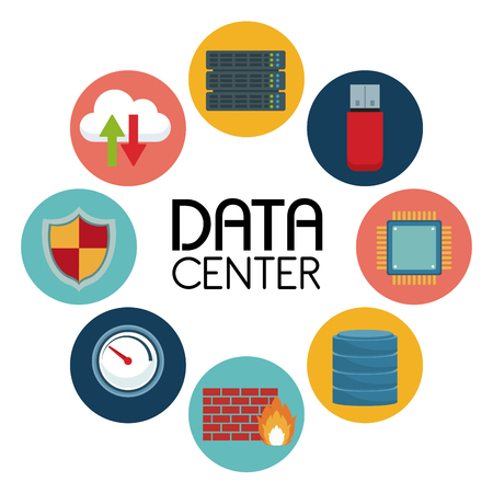 host: white background with text data center an icons elements around vector illustration Illustration