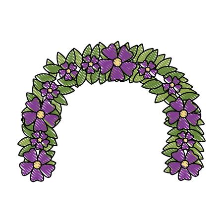 Flower wreath floral leaves style decorative element vector illustration