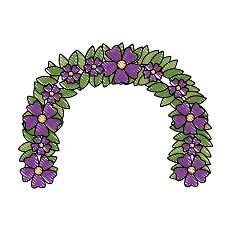 Flower wreath floral leaves style decorative element vector illustration