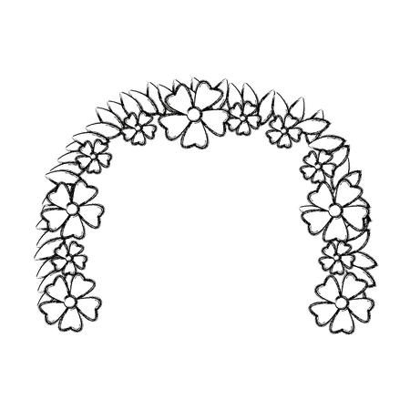 barium: Flower wreath floral leaves style decorative element vector illustration