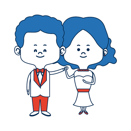 wedding couple: cute couple husband wife in wedding suit happy together vector illustration