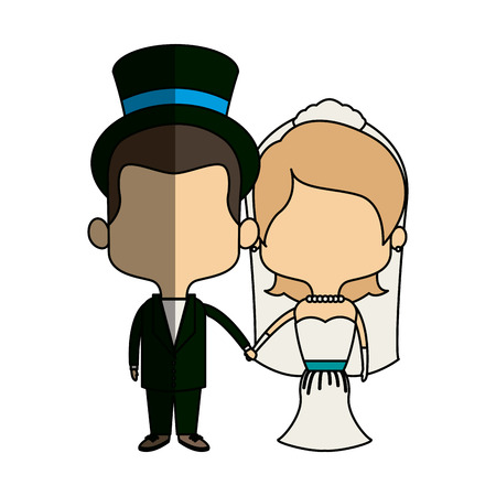 cute couple husband wife in wedding suit happy together