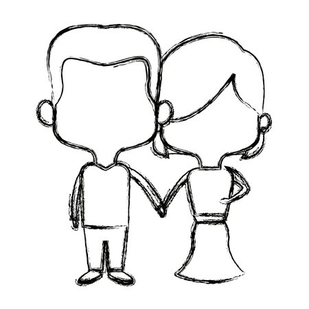 wedding couple: cute couple bride and groom holding hands lovely cartoon vector illustration Illustration