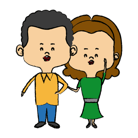 couple of young people man and woman hold hands vector illustration