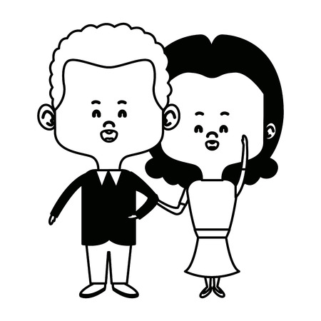cute couple bride and groom holding hands lovely cartoon vector illustration Illustration