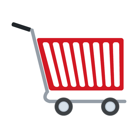 e commerce icon: Side view of shopping cart e-commerce vector illustration