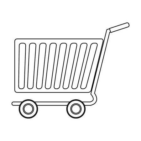 e commerce icon: Side view of empty shopping cart, e-commerce vector illustration