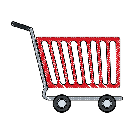 e commerce icon: Shopping cart of side view empty supermarket e commerce vector illustration Illustration