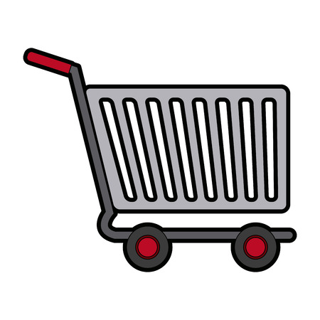 shopping cart of side view empty supermarket e commerce vector illustration