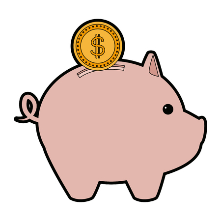 A piggy bank with coin saving or accumulation of money investment business vector illustration.