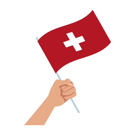 hand holding flag of switzerland symbol national vector illustration Illustration