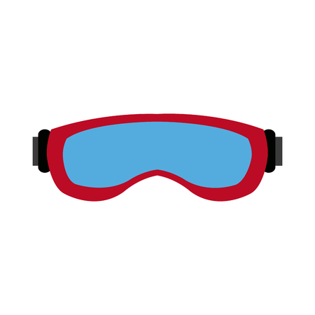 polished: ski glasses or ski goggles winter snow sport mask protection vector illustration