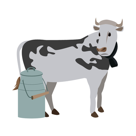 Swiss can milk cow dairy culture concept vector illustration.