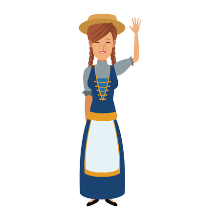 young cartoon woman in swiss national costume vector illustration