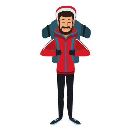 man winter clothes with backpack on white background vector illustration Stock Vector - 83833270