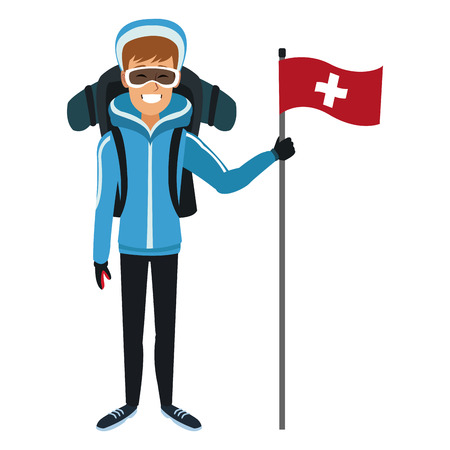 Man winter clothes with backpack and flag vector illustration.