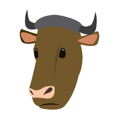 Cow head animal farm agriculture fauna vector illustration.