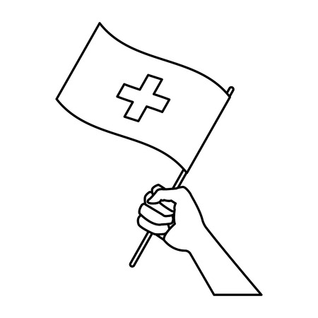 Hand holding flag of switzerland symbol national vector illustration. Illustration