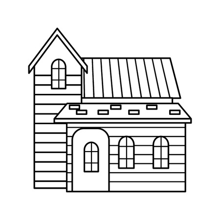 Traditional wooden house swiss architecture style isolated on white background vector illustration.