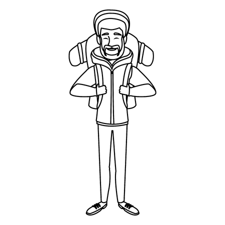 Man winter clothes with backpack on white background vector illustration Stock Vector - 83817678