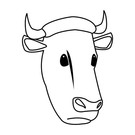 Van de het landbouwbedrijflandbouw van de koe hoofd dierlijke de fauna vectorillustratie.