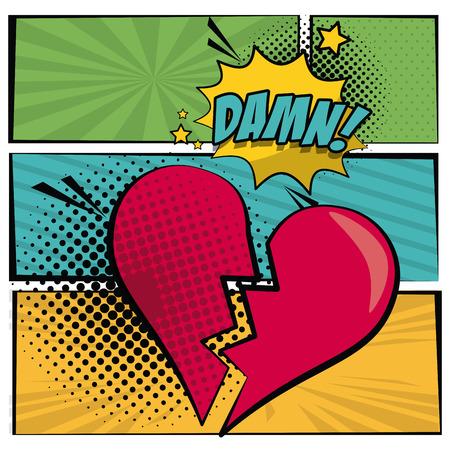 팝 아트 스타일에서 여러 가지 빛깔 된 사각형 배너 줄무늬와 심장 하프 톤 깨진 된 비명 대화 상자 callout 망할 텍스트 벡터 일러스트 레이 션.