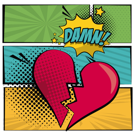 broken love: Multicolored square banner in pop art style halftone with stripes and heart broken scream dialog callout damn text vector illustration. Illustration