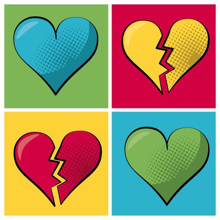 Multicolored vierkante banner in pop-artstijl en vastgesteld hart en gebroken hart vectorillustratie. Stock Illustratie
