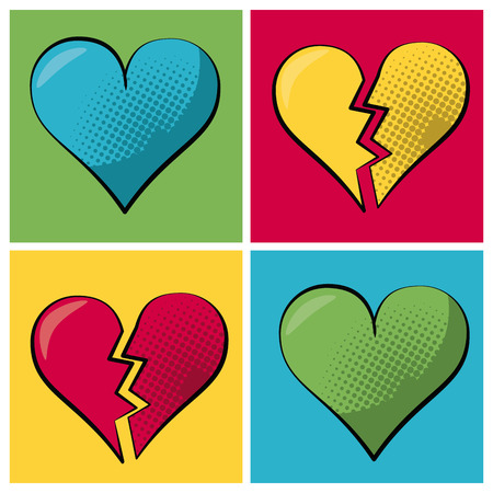 Multicolored square banner in pop art style and set heart and broken heart vector illustration.