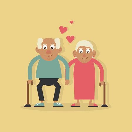 background light yellow color with couple of grandparents in love and holding hands and both with walking stick vector illustration