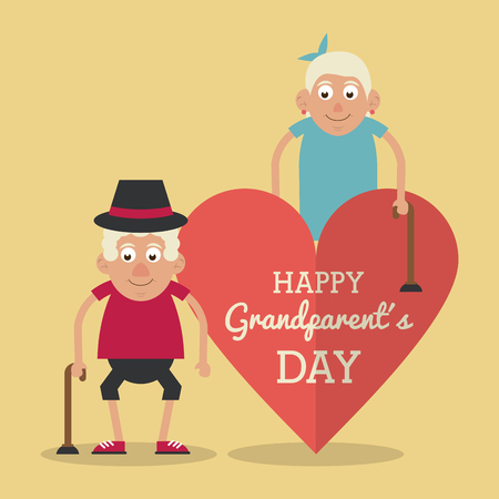 light yellow color card and heart background with text happy grandparents day with elderly couple with walking sticks vector illustration