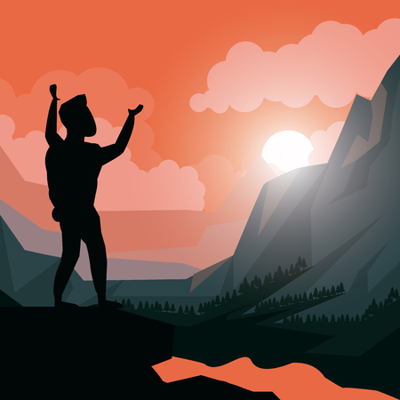 colorful sunset landscape of climber man celebrating at the top of mountain vector illustration