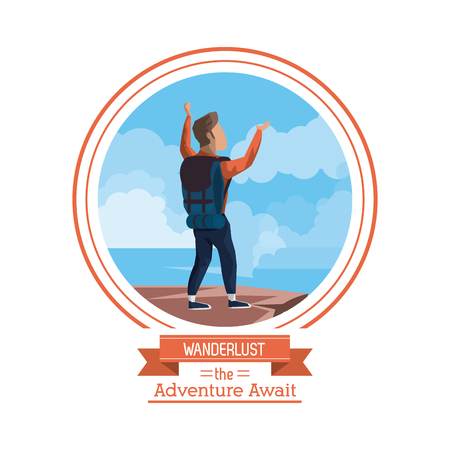 poster color of wanderlust the adventure await with climber man celebrating at the top of mountain vector illustration
