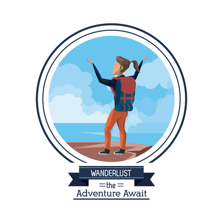 poster color of wanderlust the adventure await with climber woman celebrating at the top of mountain vector illustration