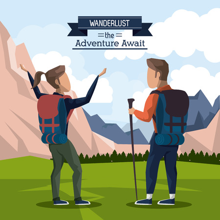 Colorful poster of wanderlust the adventure await with climber couple in outdoor landscape vector illustration