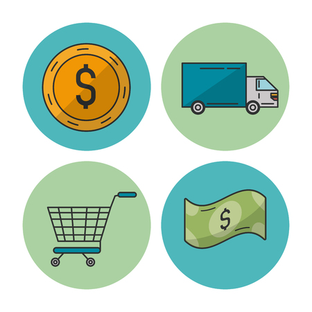 gift basket: white background with colorful circular frames with icons of e-commerce and shopping as money and truck and shopping cart vector illustration