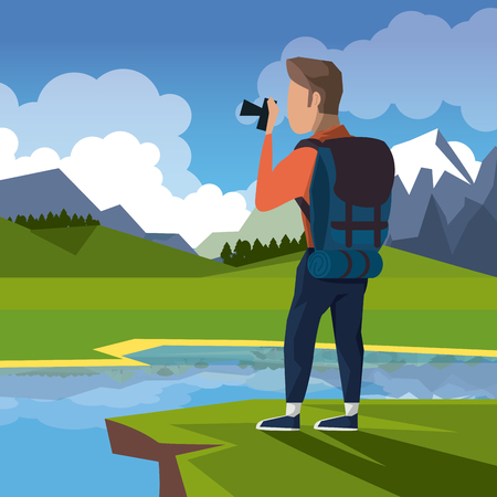 colorful landscape of hiking man taking a picture in cliff next to river vector illustration