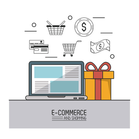 gift basket: Colorful poster of e-commerce and shopping with laptop computer and gift in closeup and buying icons on top vector illustration