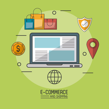 gift basket: Colorful poster in green background of e-commerce and shopping with laptop computer in closeup and commerce icons around vector illustration. Illustration
