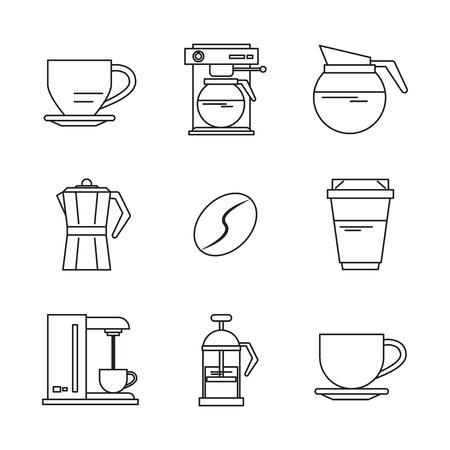 Fondo blanco con siluetas negras de bebidas o elementos con la ilustración de vector de café Foto de archivo - 83818292