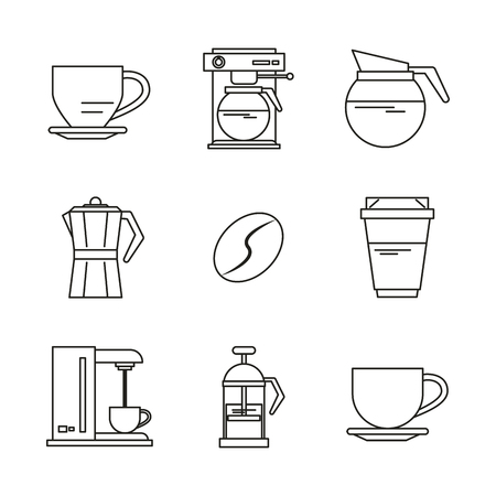 white background with black silhouettes of drinks or elements with coffee vector illustration
