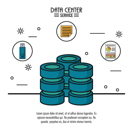 colorful poster of data center service with computer server and icons of usb memory and file and storage info on top vector illustration