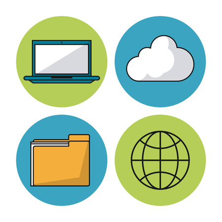 white background with colorful spheres with laptop and cloud and folder and world map vector illustration Illustration