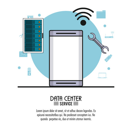 colorful poster of data center service with smartphone in closeup and rack server and wrench tool vector illustration