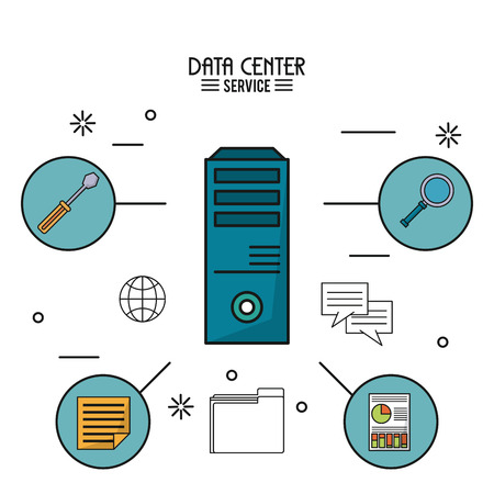 hardware: colorful poster of data center service with tower server and icons around vector illustration