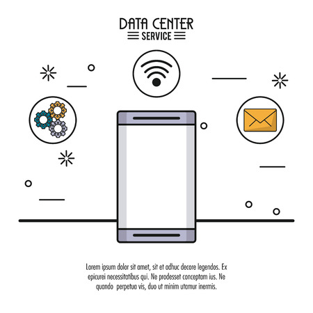 Colorful poster of data center service with smartphone and related icons
