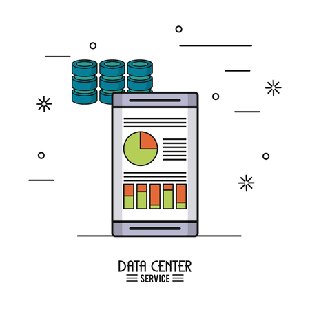 Colorful poster of data center service with smartphone with storage data info Illustration