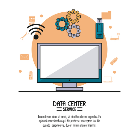 Colorful poster of data center service with desktop computer and tools icons on top