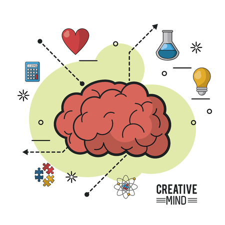 Colorful poster of creative mind with encephalitic mass and icons Illustration